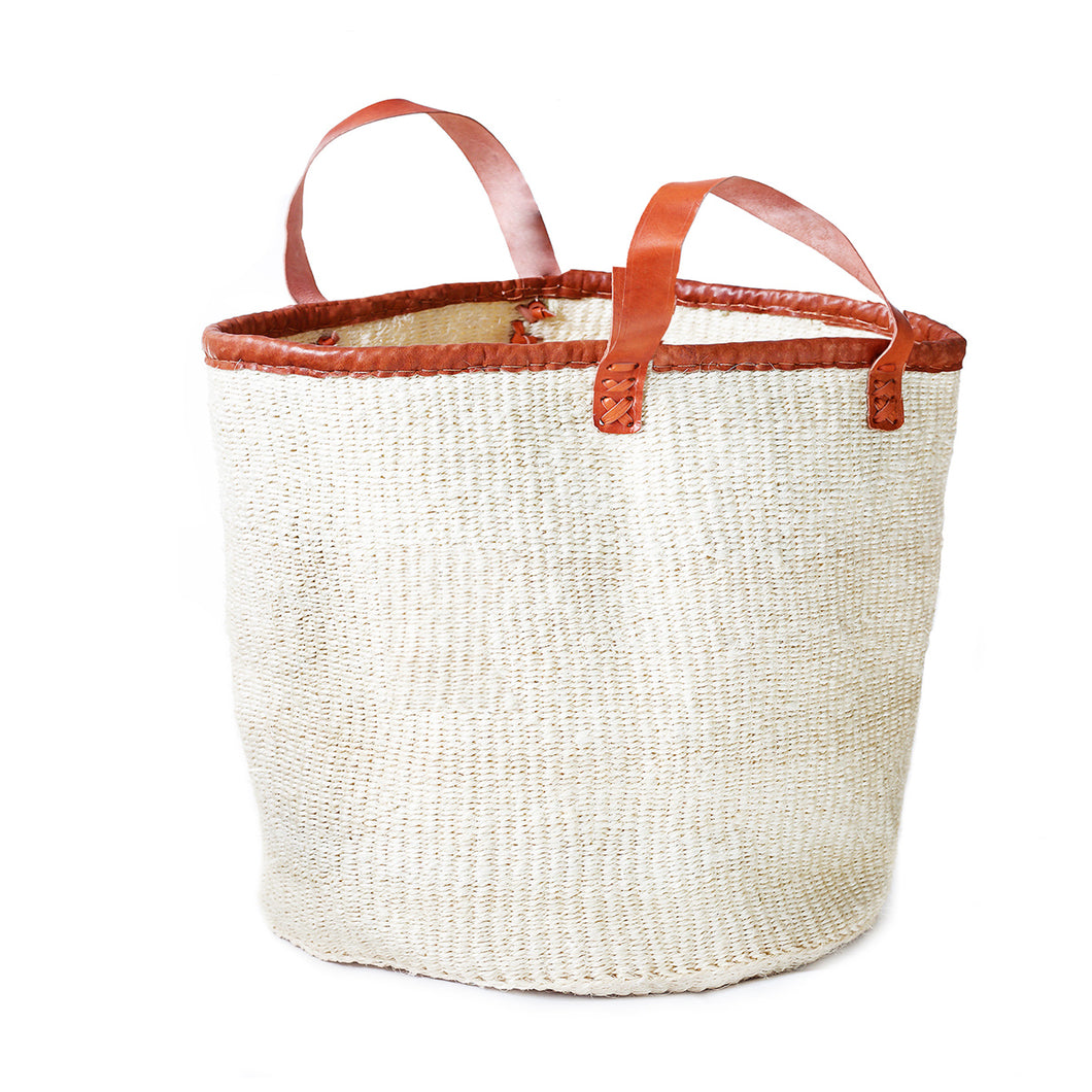 Large floor bin made of white sisal with natural leather handles
