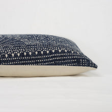 Load image into Gallery viewer, Batik pattern indigo and cream pillow with cream back