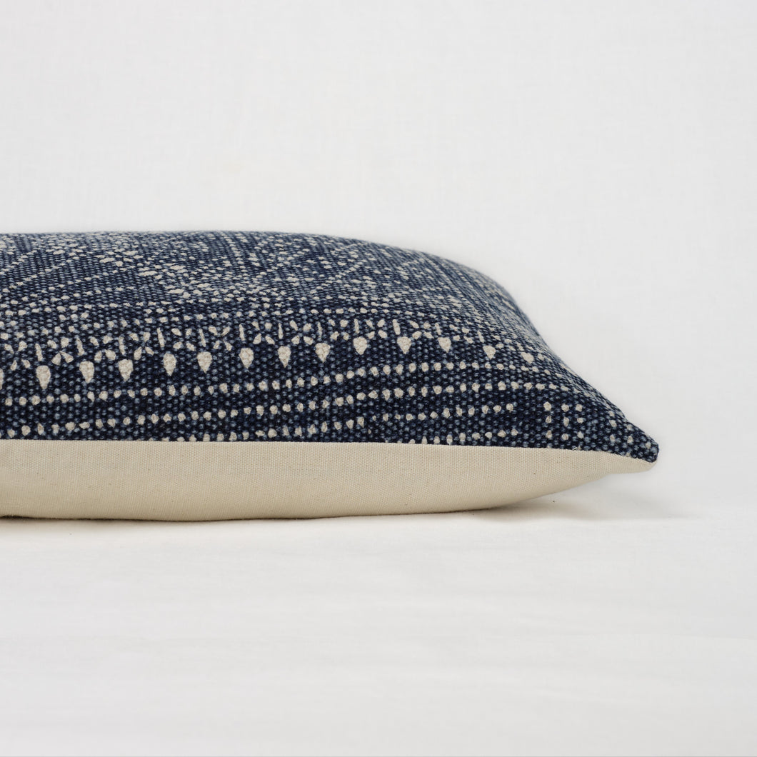 Batik pattern indigo and cream pillow with cream back