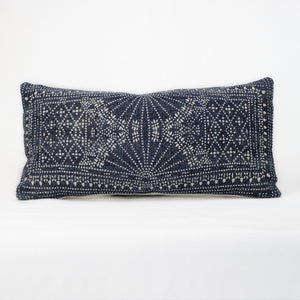 Indigo and white batik cotton pillow