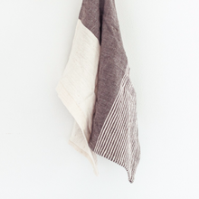 Load image into Gallery viewer, Tea Towel by Creative Women with solid grey color blocking and stripes