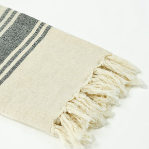 hand loomed Turkish linen towel in cream with black stripes