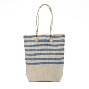 Blue and natural stripe tote made from recycled grain bags. Made by EnShallah in Morocco.