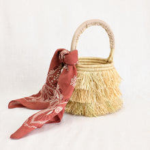 Load image into Gallery viewer, Artisan-made basket bag with raffia fringe