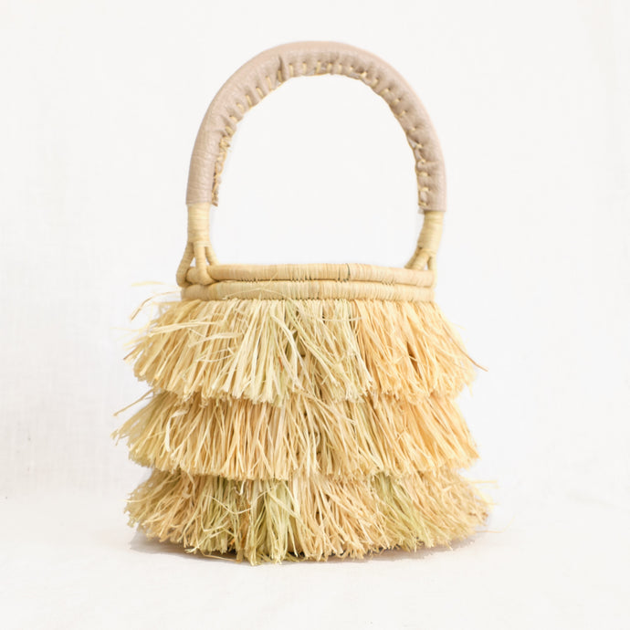 Mini natural basket bag with raffia fringe by Indego Africa