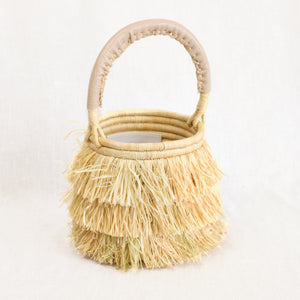Indego Africa fringe basket bag in natural