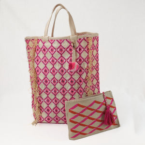 Crocheted clutch in fuchsia and orange, shown with coordinating Bahia Beach Tote-not included in price.