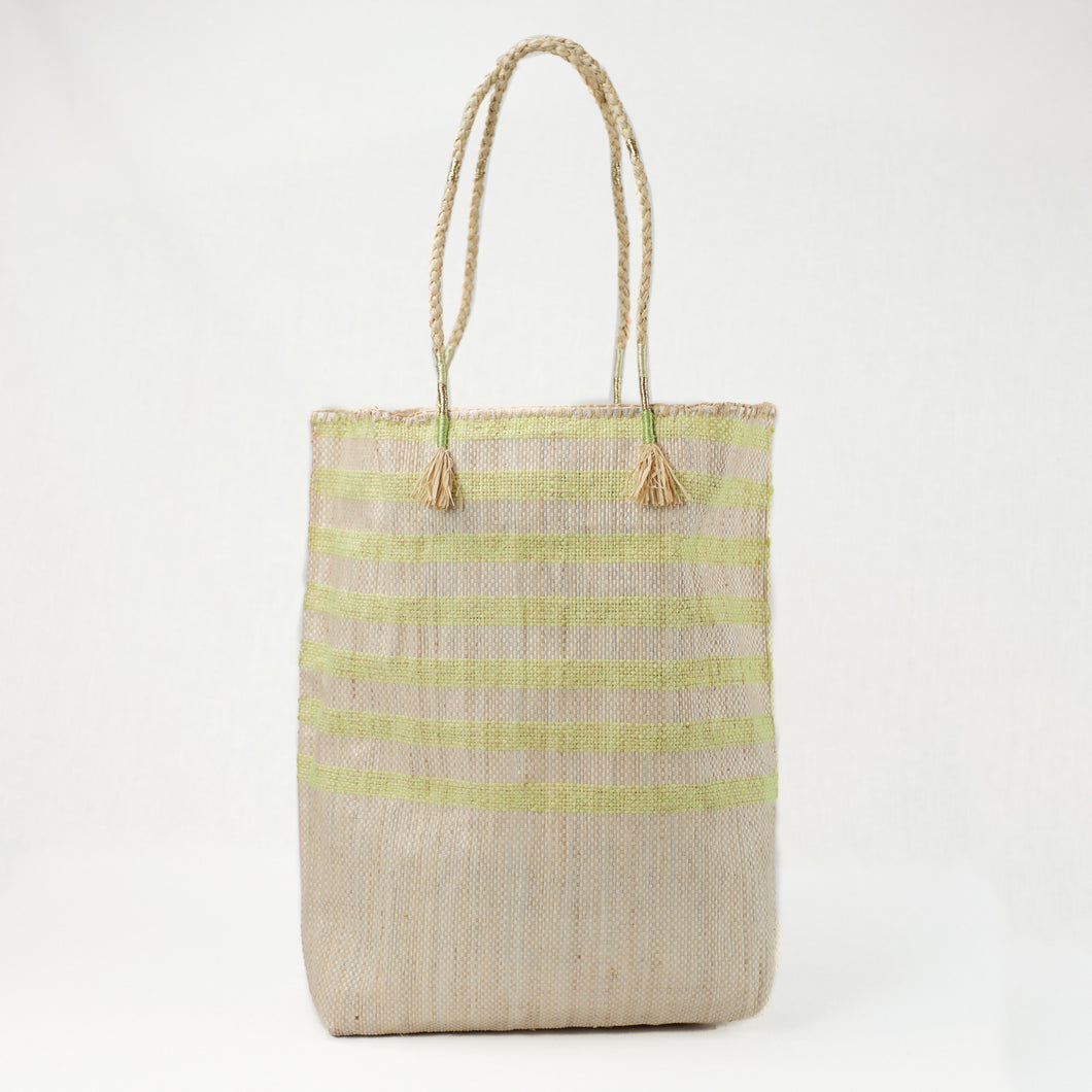 Yellow and natural striped tote bag made from recycled grain bags. Made by EnShallah in Morocco.