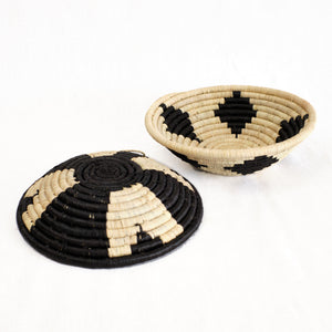 black and natural baskets with graphic tribal pattern
