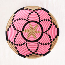Load image into Gallery viewer, Artisan plateau basket with pink and black flower pattern by Indego Africa