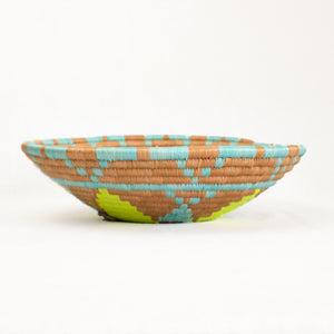 Indego Africa Yellow, aqua and natural plateau basket