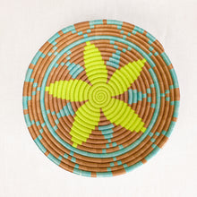 Load image into Gallery viewer, Artisan basket with yellow and aqua star pattern by Indego Africa