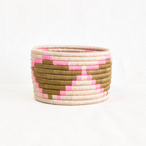 natural and pink bohemian basket/bin
