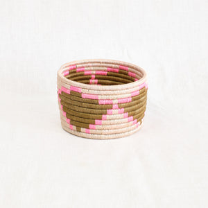 basket by Indigo Africa in pink, natural and tan