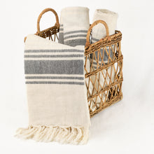 Load image into Gallery viewer, hand loomed Turkish linen towel in cream with black stripes
