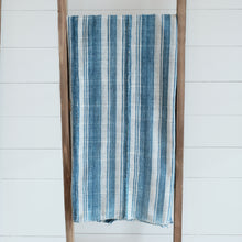 Load image into Gallery viewer, Faded indigo and cream striped blanket with hand rolled hem and panels. Vintage piece, shows wear and beautiful hand mending stitches.