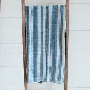 Faded indigo and cream striped blanket with hand rolled hem and panels. Vintage piece, shows wear and beautiful hand mending stitches.