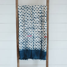 Load image into Gallery viewer, Indigo and white cotton blanket dyed with shibori technique. Wide indigo border with colorful hand stitched blocks. Vintage piece, imperfections are part of its nature.