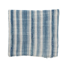 Load image into Gallery viewer, Soft indigo and cream striped cotton throw. Vintage piece from Africa. Hand work, hand mending and a rustic rolled hem.
