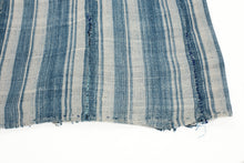 Load image into Gallery viewer, Indigo and cream striped vintage cotton throw. Shows a hand rolled hem, hand stitched panels and mending.