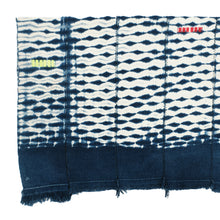 Load image into Gallery viewer, Indigo and white shibori cotton throw. Wide band of indigo in each end. Panels are zig zag stitched together.