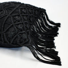 Load image into Gallery viewer, Crocheted throw pillow in black cotton yarn with fringe trim