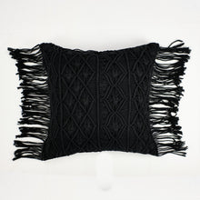 Load image into Gallery viewer, Black crochet pillow with fringe trim