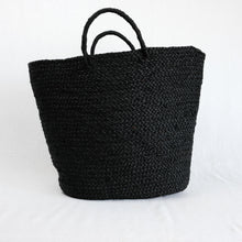 Load image into Gallery viewer, black raffia beach tote by Indego Africa