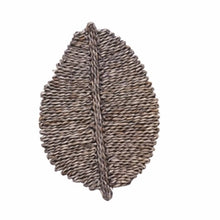 "Load image into Gallery viewer, Palm Placemat made from hand woven seagrass  with a soft grey wash. Measures 20"" length, 13.5"" width. Each sold separately."