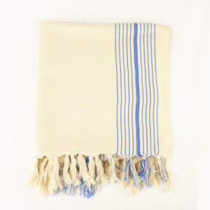 Turkish towel in cream and blue stripe