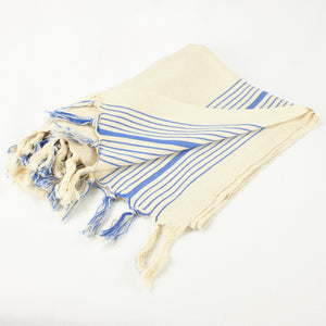 Handloomed Turkish towel in natural cotton with blue stripes