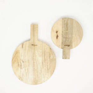 Pair of round wood serving boards. Small and large shown.