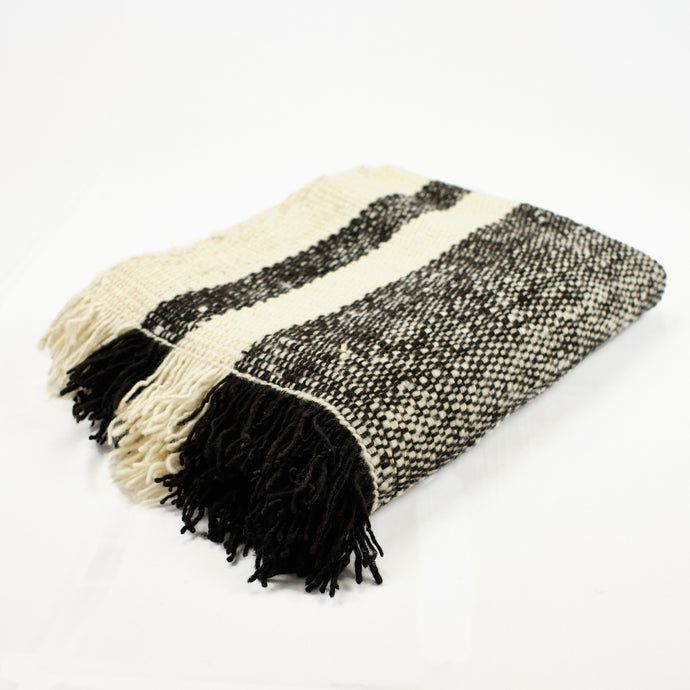 wool blanket with natural cream and black stripes and fringe by Treko Wool