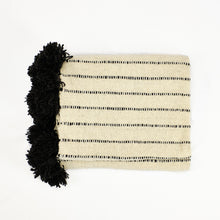 Load image into Gallery viewer, Natural cream and black striped wool blanket made by artisans in Chile by Treko Wool.
