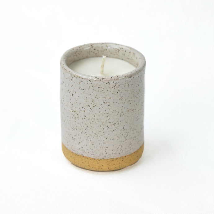 Norden ceramic candle, grey speckled stoneware