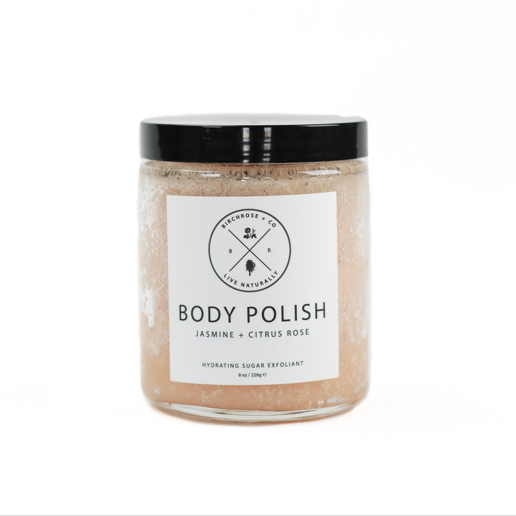 Jasmine & Citrus Rose Body Polish by Birchrose. Organic body scrub made with sugar, plant butters and essential oils.