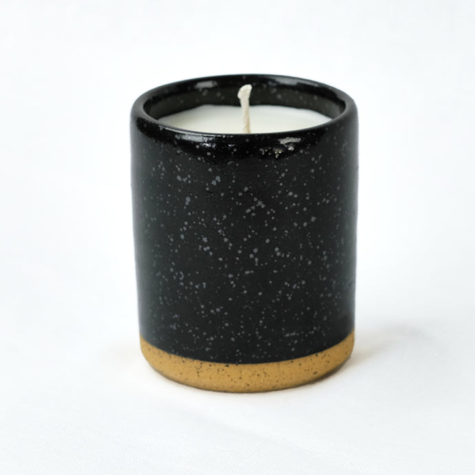 Norden ceramic candle, black speckled stoneware