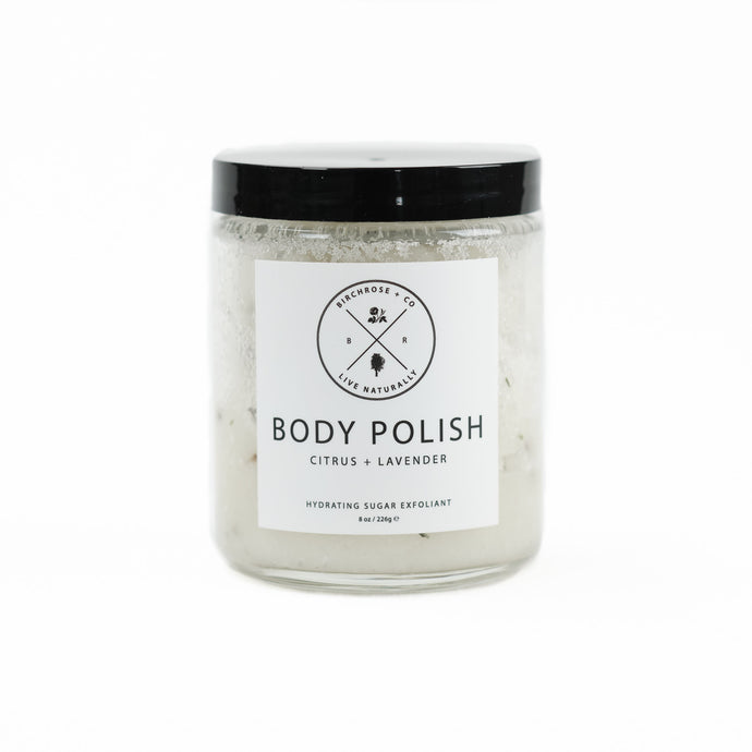 Citrus & Lavender Body Polish by Birchrose. Organic scrub made with cane sugar, sea salt, minerals and essential oils.