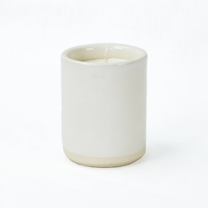 Norden ceramic candle, white high gloss stoneware