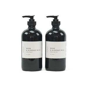 Rose & Almond Milk hand wash and hand lotion by Lightwell & Co. Luxury for your hands! Enjoy the fragrance notes of Turkish rose, geranium, citrus and tonka bean. 16 oz./500ml black glass bottle with pump. Each sold separately.