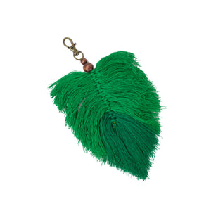green silk tassel palm frond bag charm with metal clip