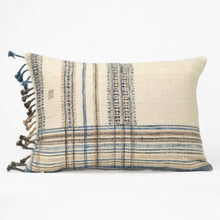 Load image into Gallery viewer, Cream throw pillow with blue, tan and brown plaid pattern and blanket fringe trim