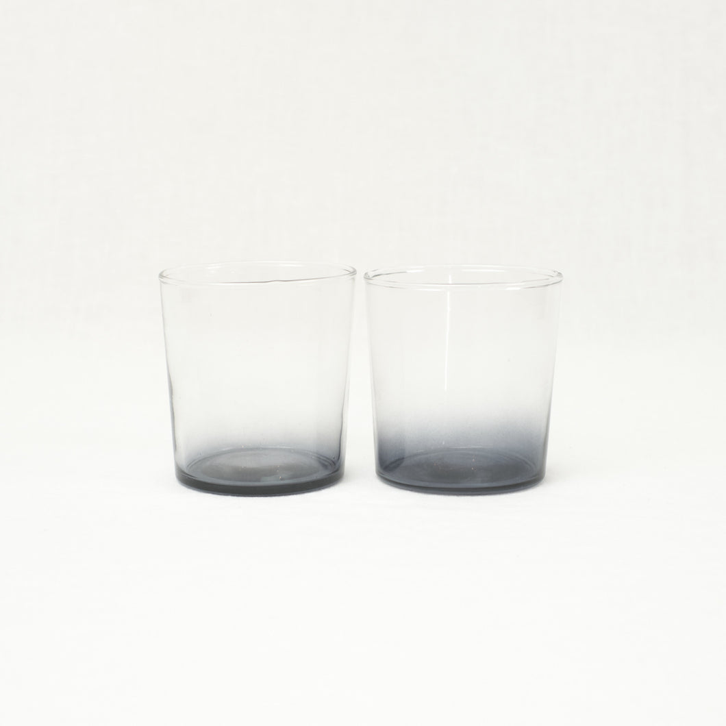 Pair of smoke grey Chroma glass tumblers.