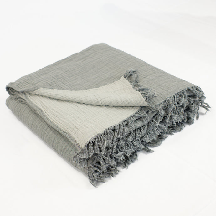 Turkish cotton waffle weave blanket in grey with pale grey back