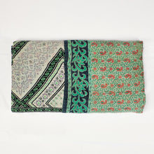 Load image into Gallery viewer, vintage kantha quilt in cotton with green and aqua pattern
