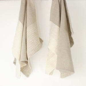 Stone and natural striped tea towel by Creative women