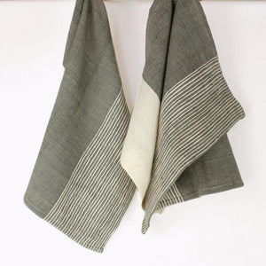 Grey and natural striped tea towel by Creative Women