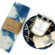 Load image into Gallery viewer, Shibori washcloth shown with indigo basket, body polish & scrub (these items sold seperately).
