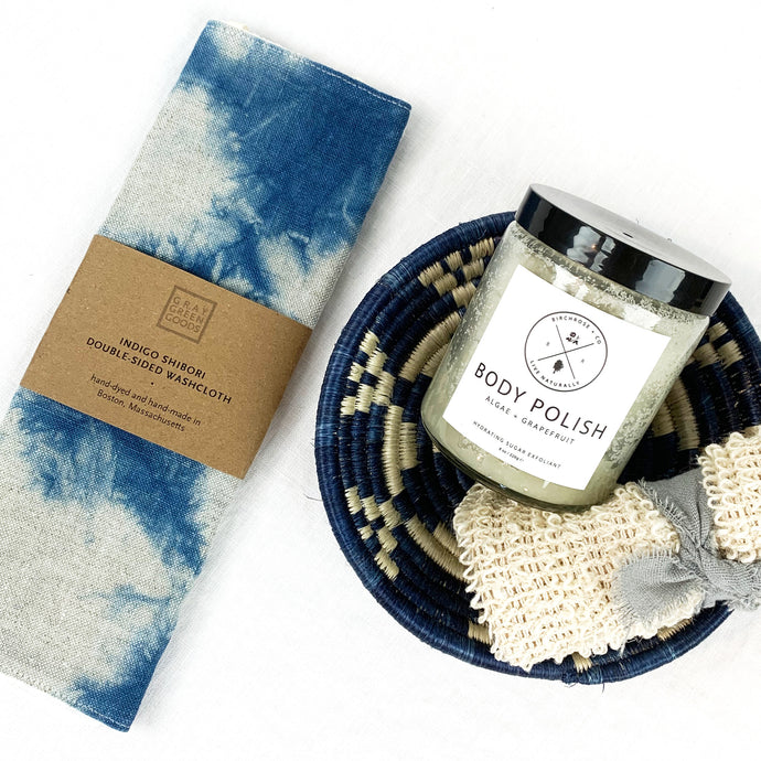 Shibori washcloth shown with indigo basket, body polish & scrub (these items sold seperately).