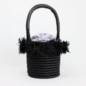 Black mini basket bag with lavender liner